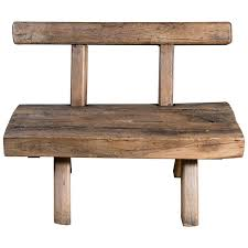 Chunky Rustic Wooden Bench With Back Circa 1920 At 1stdibs