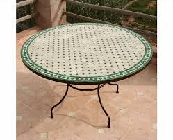 table ronde mosaique fer forge tables en zellige rondes