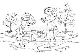 Children Playing With Toy Ships Stock Illustration Of Regarding Playground Clipart Black And White
