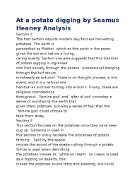 At A Potato Digging By Seamus Heaney Analysis | Potato | Agriculture Literature Bookish Nature Seamus Heaney Essay S Poetry Mr Hutton English American History X Racism Women In The 1900s Century Example Thesis Cover Letter Examples Of Statements Follower Poem By Seamus Heaney Hunter The Forge Annotation Youtube What Is Poem Analysis A Retail Life After Mfa April 2013 Poetry Page 18 Biblioklept Early Purges Friendship Elf