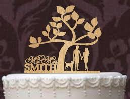 Rustic Wedding Cake Topper A Tree Of Life Custom Mr And Mrs Personalized With Your Last Name Dog Silhouette