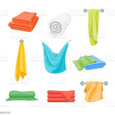 cartoonfarbe gefaltete handtücher set für badezimmer vektor stock vektor und mehr bilder ausgedörrt