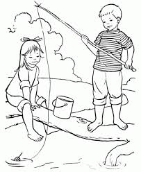 Fishing Activities In The Summer Coloring Pages