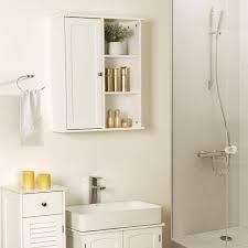 vasagle badschrank weiß mit tür aus holz 71 x 60 x 18 cm badezimmerschrank mit 2 einlegeboden wandschrank hängeschrank bbc20wt
