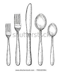 Spoon fork and knife hand drawing illustration