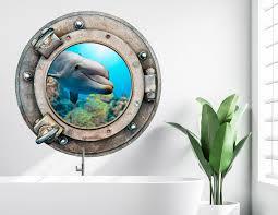 wandtattoos wandbilder insel delphin bullauge