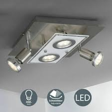 b k licht mercurio 250lm eckige deckenleuchte mit 4 gu10 led spots matt nickel bkl1076