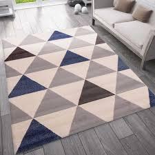 teppich wohnzimmer schlafzimmer flur teppich dreiecksmuster blau vimoda homestyle