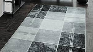 teppich preiswert karo design modern wohnzimmerteppich grau schwarz top preis größe 60x100 cm