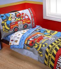 sesame street fire department 4 piece toddler bedding set shared