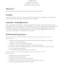 Vet Tech Cv Electronics Engineer Objective Resume Ates Technical Examples To Veterinary Technician Cvtc