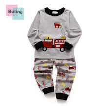 100 Fire Truck Pajamas Childrens Clothes Boys Suit Underwear Set Long Sleeve Round
