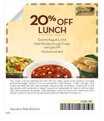 Olive Garden  off Lunch Coupon