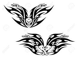 Black Bikes Tattoos With Flames And Graphic Elements Stock Vector