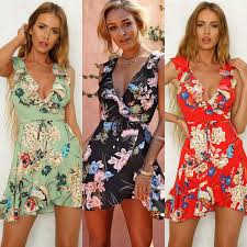 Womens Boho Floral Chiffon Summer Party Evening Beach Short