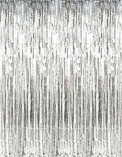 metallic silver foil fringe curtains 1 pc 36 x 96 inches 3 ft 8 ft