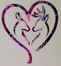 Deer Heart Doe Buck Vinyl Decal 5