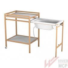 table à langer avec baignoire coulissante vivier mcp