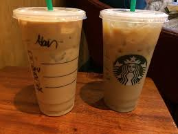 Left Drink Venti Iced Coffee With Breve And SF Vanilla Right