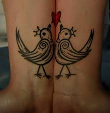 Two Love Birds Tattoo Design On Both Wrist