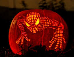 Spiderman Pumpkin Carving by Extras Carved Pumpkins Winnipeg