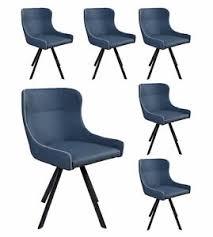 details zu 6x lc home esszimmerstühle vintage stühle besprechungsstühle lederoptik blau