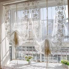 spitze gardinen stickerei multi funktions aufhebung gardine aus voile fächerförmige halben vorhang balkontür wohnzimmer schlafzimmer study1pcs a