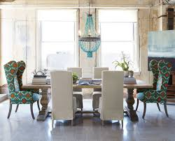 Natural Dining Table Upholstered Chairs Eclectic Room