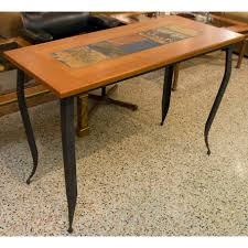sofa table with iron legs and slate tile top living room