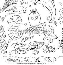 Coloring BookSeamless Pattern Hand Drawn Black And White Sea Animals