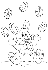 Click To See Printable Version Of Easter Bunny Juggling Eggs Coloring Page