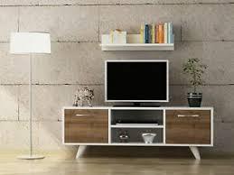 details zu tv lowboard weiß wohnwand modern sideboard holz wohnzimmer fernsehtisch 3937