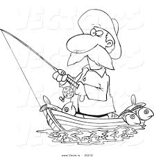 Vector Of A Cartoon Fisherman Standing In His Boat