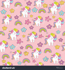 Seamless Baby Pattern With Cute Unicorn Rainbow And Flowers Best Choice For Cards