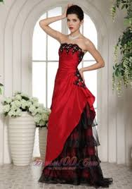 Wine Red And Black Applique Prom Holiday Dress