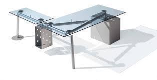 bureau transparent verre isotta bureau rectangulaire caisson à gauche verre transparent