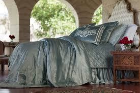 Blue Velvet King Headboard by Lili Alessandra Diamond Quilted Ice Blue Velvet Coverlet Collection