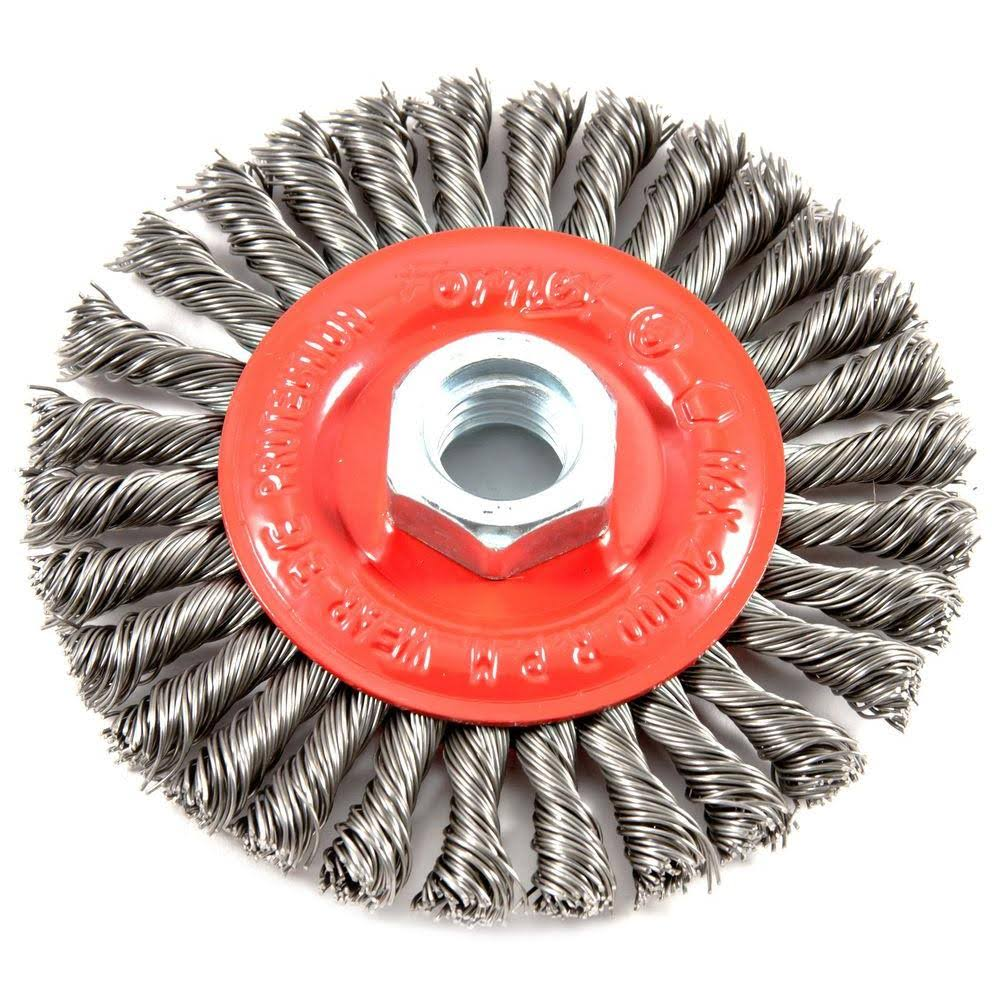"Forney Stringer Bead Twist Wire Wheel Brush - 4"" x 5/8"", 11 Threaded Arbor"