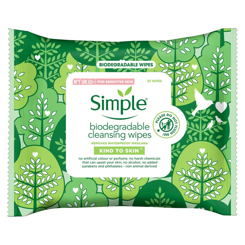 Simple Biodegradable Cleansing Face Wipes