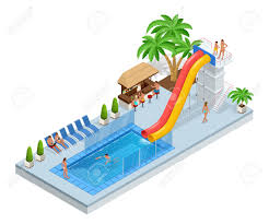 Isometric Aqua Park With Water Slides Pool People Or Visitors And Palms