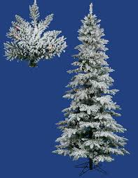 75 Pre Lit Flocked Layered Utica Fir Slim Christmas Tree