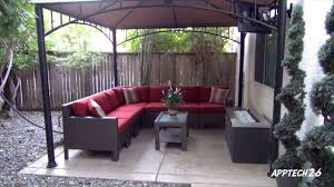 Hampton Bay Patio Furniture Covers by Backyard Before U0026 After Remodel Tv Fire Pit L Shaped Couch