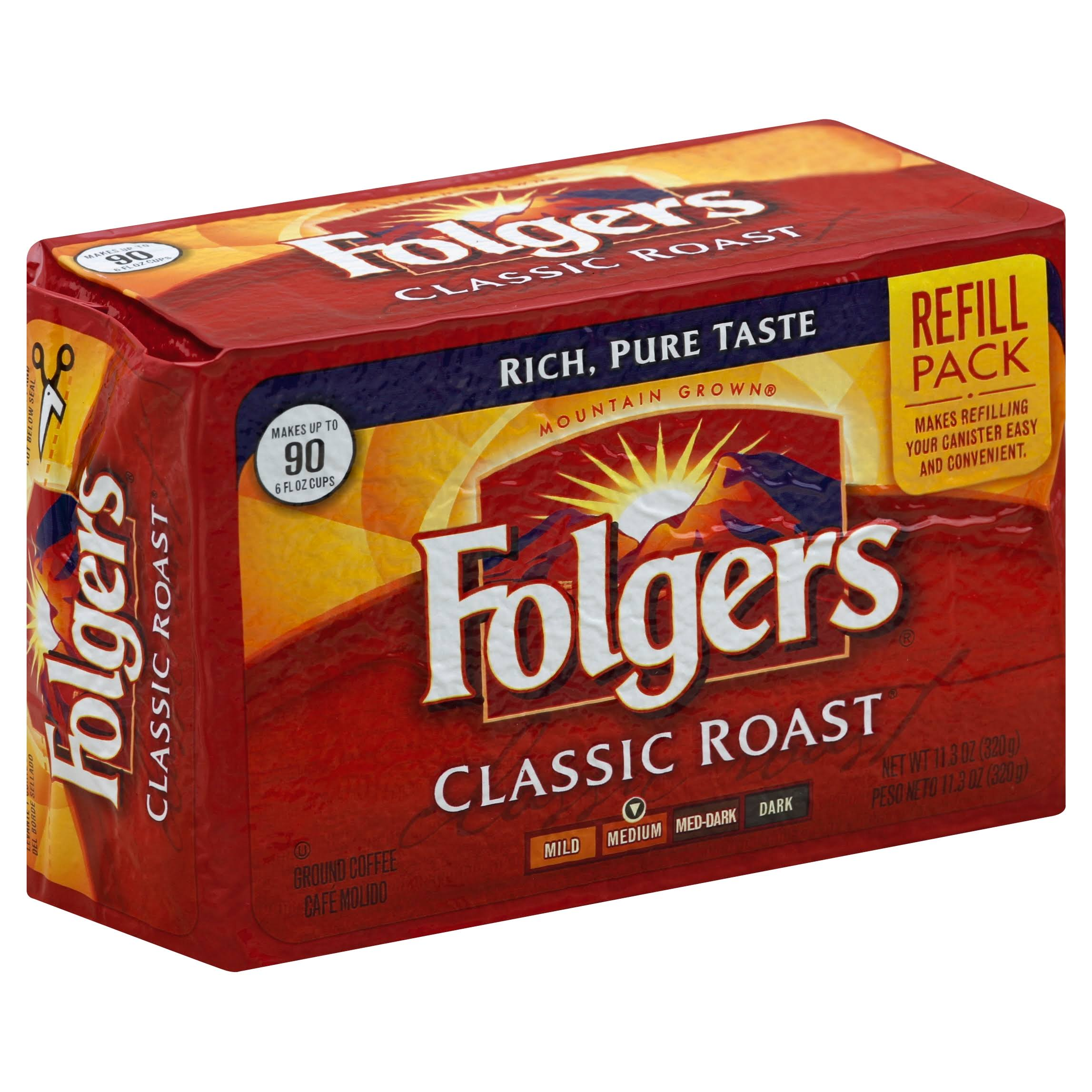 Folgers Mountain Grown Classic Roast Medium Ground Coffee - 11.3 oz