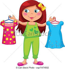 Getting dressed Girl holding different outfits vector clipart