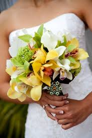 Lime green yellow Orchid Bridal Bouquet