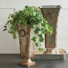 Rustic Metal Planter On Pedestal Set Of 2