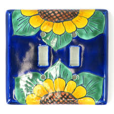 Sunland Home Decor Cowhide Rug by Talavera Ceramic Switch Plate Sunflower Double Standard