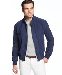 michael kors perforated suede bomber jacket in blue for men lyst