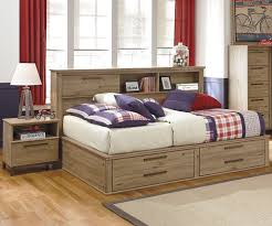 Brown And Blue Bedding by Bedroom Wooden Day Bed With Storage And Drawer Using White And