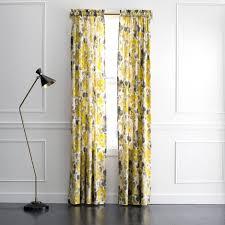 Landsmeer Grey And Yellow Curtain Panel Extraordinary Plum Bow